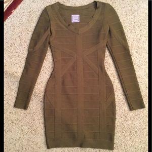 HERVE LEGER OLIVE GREEN BANDAGE DRESS sz S, NEW